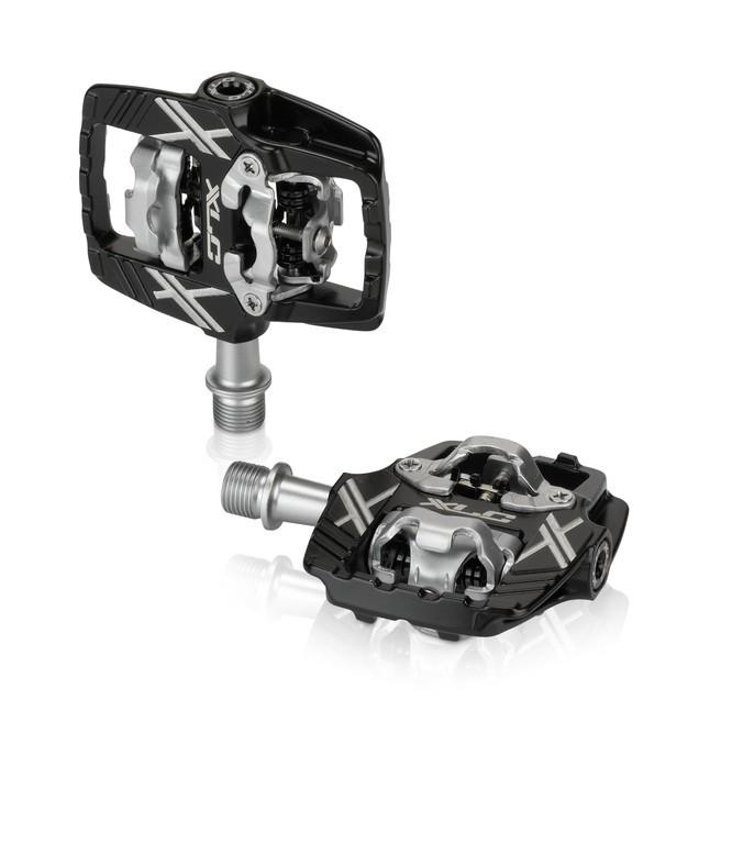XLC Pedali a sistema PD-S19 bilaterali nero/argento compatibili SPD