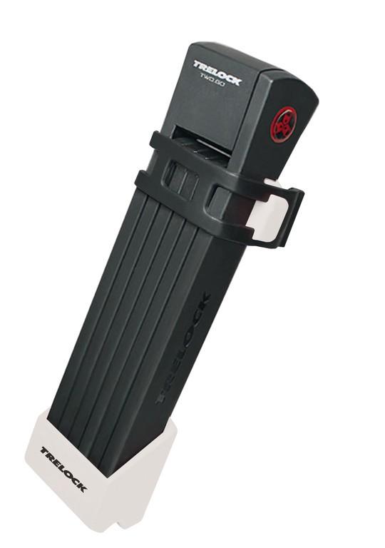 Lucchetto pieghevole Trelock TWO.GO L FS200/100 bianco, con supporto ZF200 e chiave