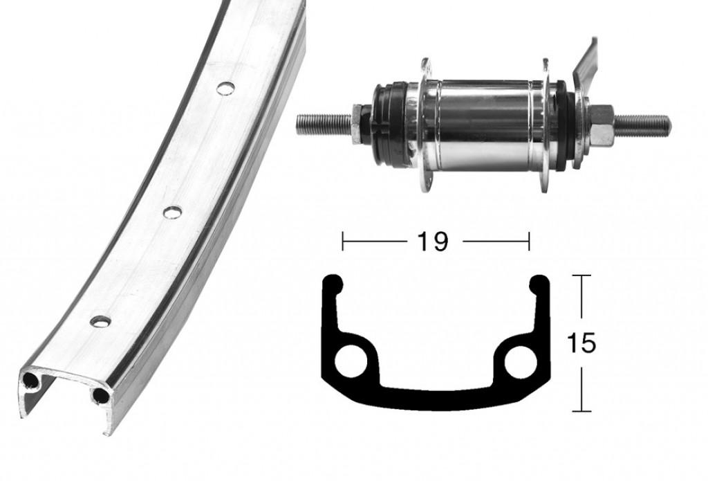 Ruota Posteriore Contropedale Shimano Città 28'' Alluminio