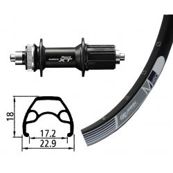 Ruota Posteriore 26x1.9 32F QR Deore XT C.lock Rodi M460 nero/nero